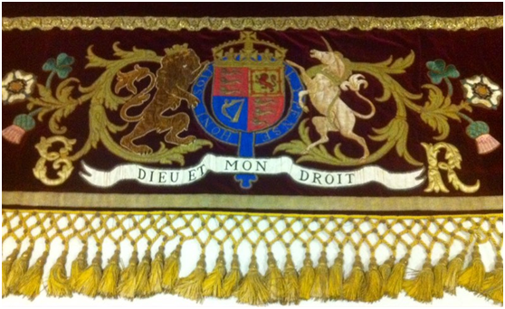 Velvet hammercloth with the Royal Coat of Arms