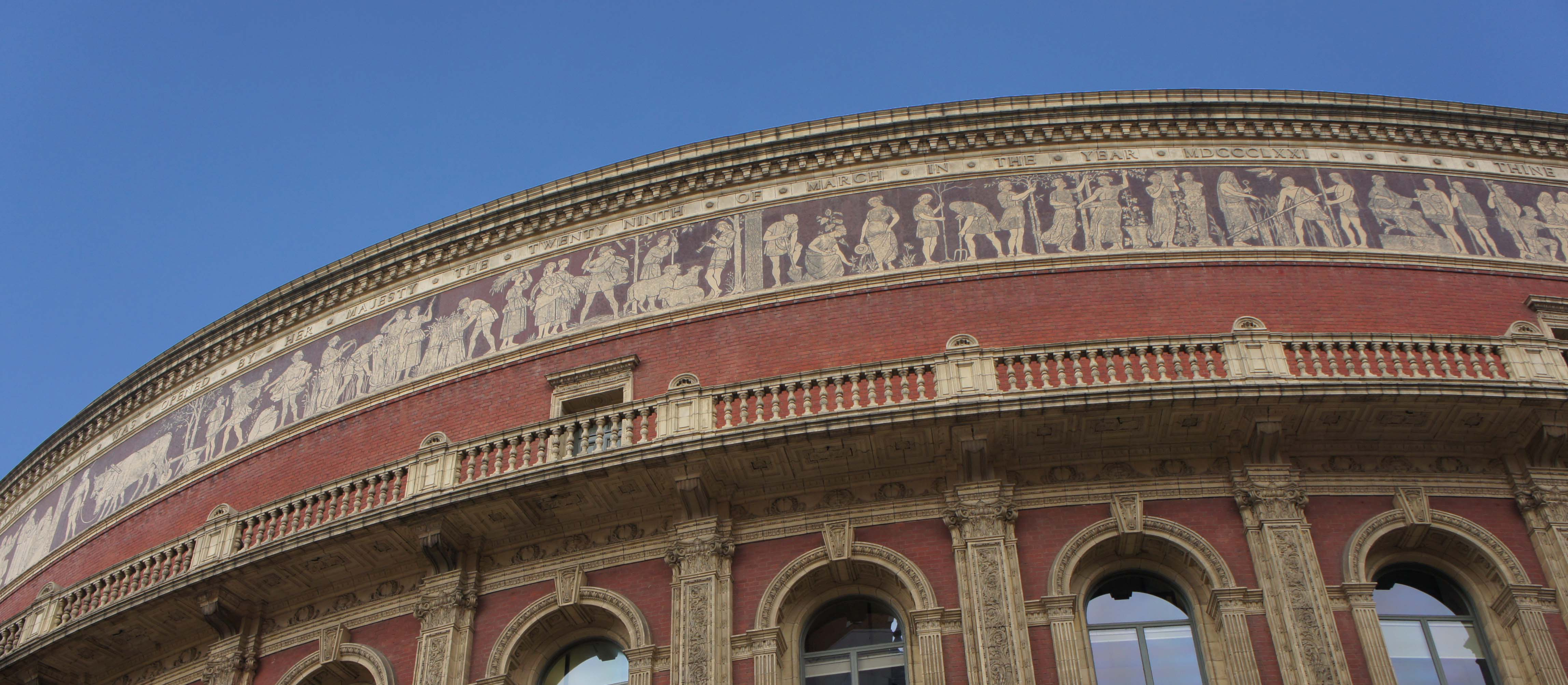 Detail of the Royal Albert Hall's mosaic frieze, showing the section Agriculture by H. Stacy Marks. Photography by S. M. Harris