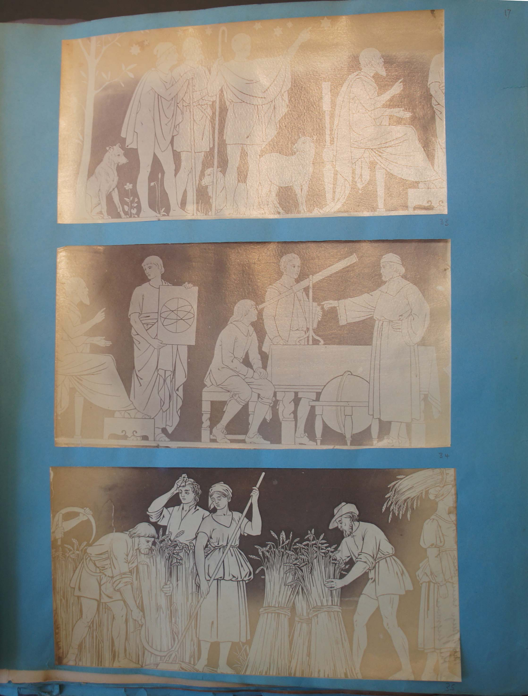 Photographs of the artist's drawings in Benjamin. L. Spackman scrapbook