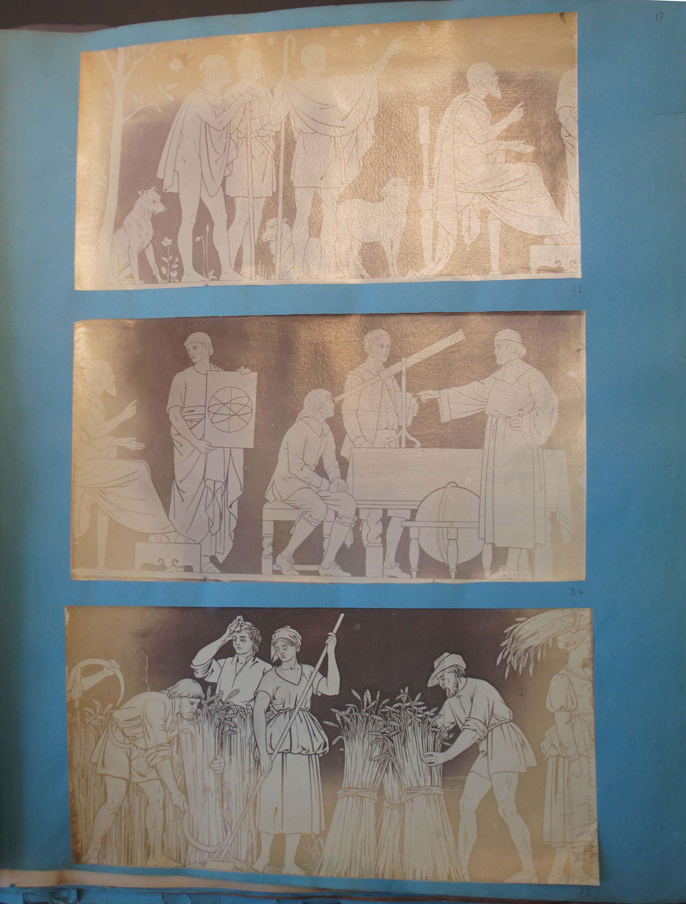 Photographs of the artist's drawings in Benjamin. L. Spackman scrapbook