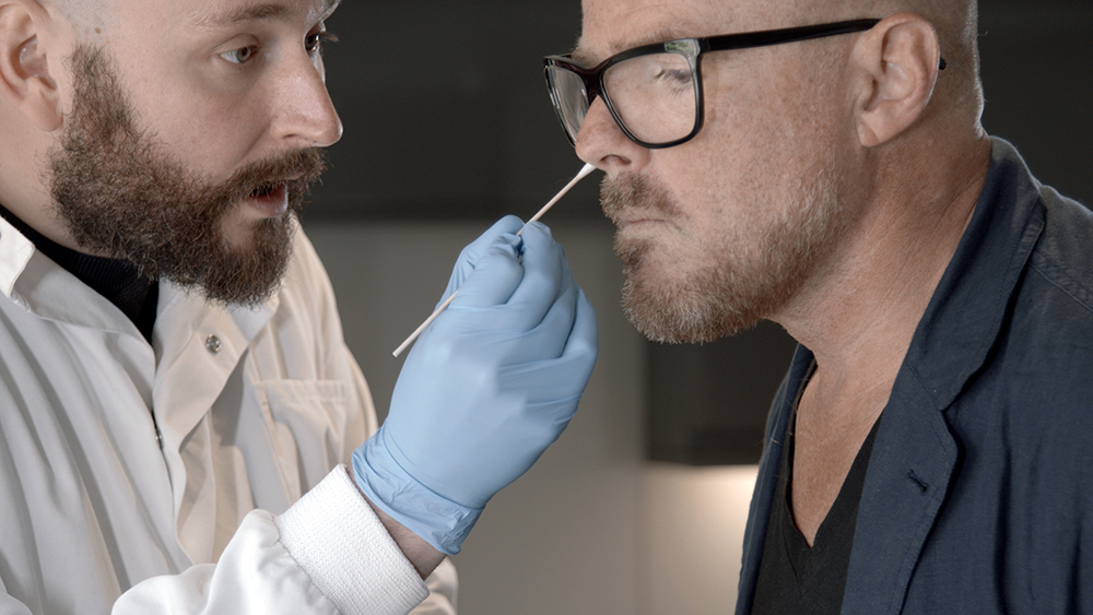 Bacteria being taken from chef Heston Blumenthal