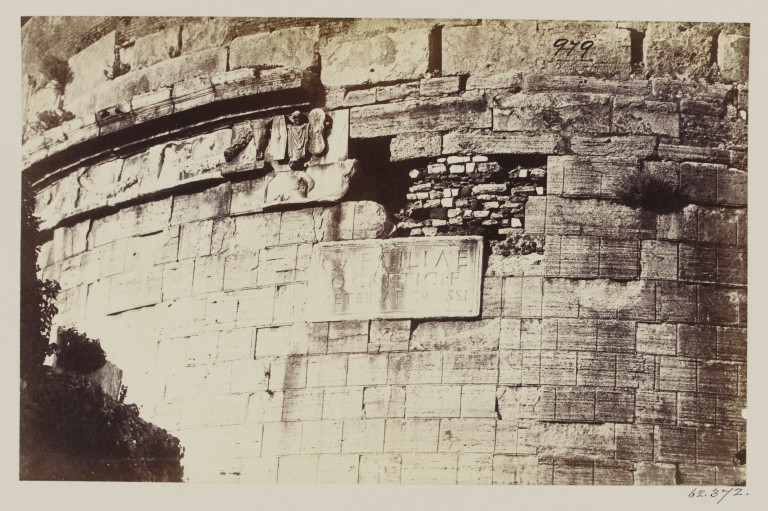 Photograph showing travertine facing on the Tomb of Caecilia Metella, Rome