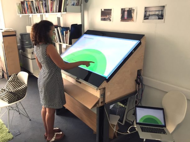 Validating the usable area of the screen with the prototype in the Digital Media offices