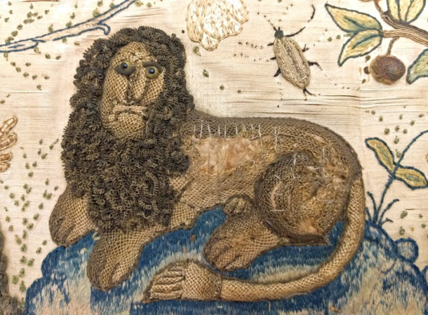 Detail of lion from an embroidered picture showing the Judgement of Paris, ca. 1660