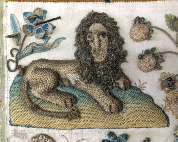 Detail of lion from embroidered picture of Bathsheba at the well, 1656