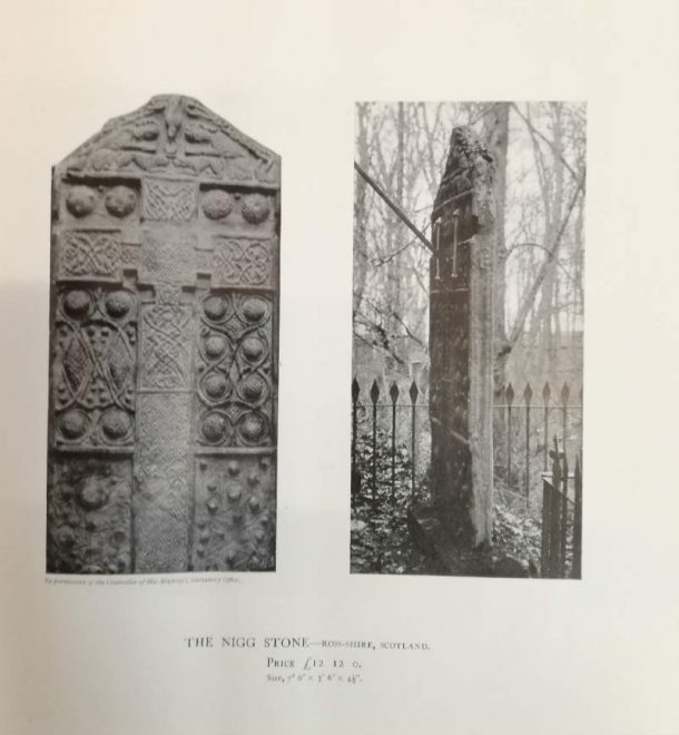 Picture of the original Nigg Cross (right) and a plaster cast (left) from Brucciani's catalogue. Image, Johanna Puisto © Victoria and Albert Museum, London.