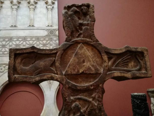 Infills to hide metal screws on the triangular section of the Ruthwell Cross. Image, Johanna Puisto © Victoria and Albert Museum, London.