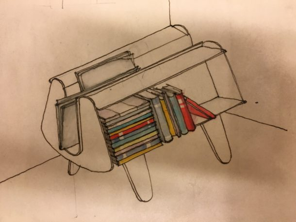detail of design for a small freestanding bookcase.