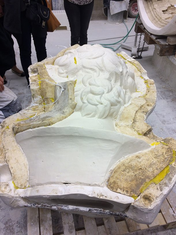 A cast of David's head in the process of being removed from its mould, in the studio at the Plaster Cast Workshop of the Royal Museum of Art and History, Belgium