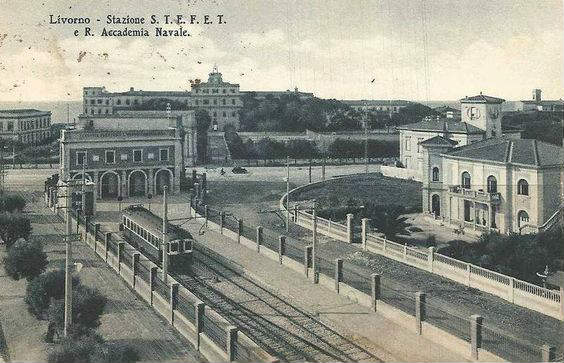 Post card showing the Royal Station of the Naval Academy at Leghorn at the end of the19th Century.
