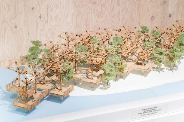 View of model made from bamboo sticks by Eleena Jamil Architects