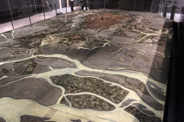 Fig 1: The physical scale model of Strasbourg at 1/600 measures about 12 m x 6 m (72 m²)