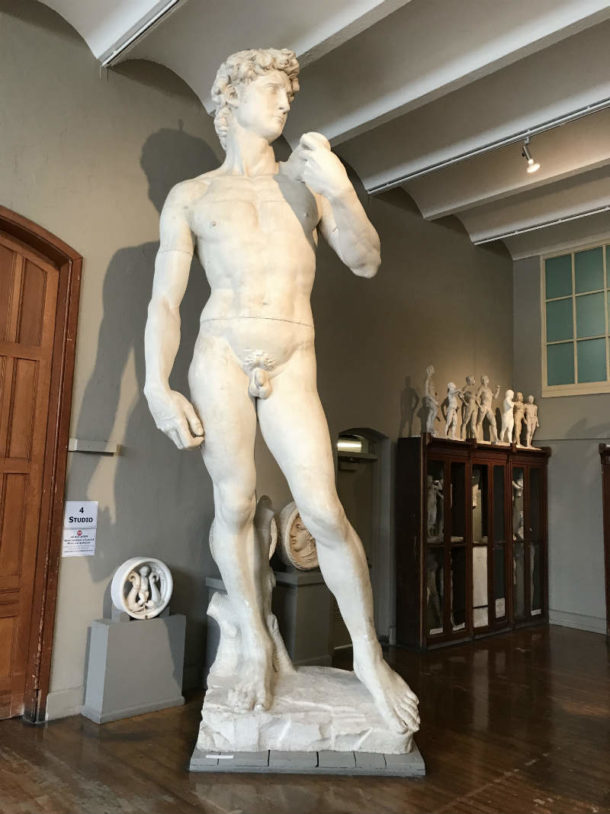Full view of PAFA's David. Image, courtesy of the Pennsylvania Academy of the Fine Arts.