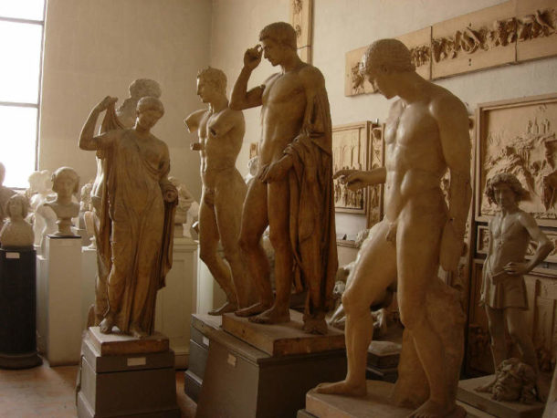 Casts gathered for evaluation and restoration at PAFA. Image, courtesy of the Pennsylvania Academy of Fine Arts.
