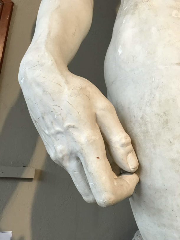 David's hand. Image, courtesy of the Pennsylvania Academy of the Fine Arts.