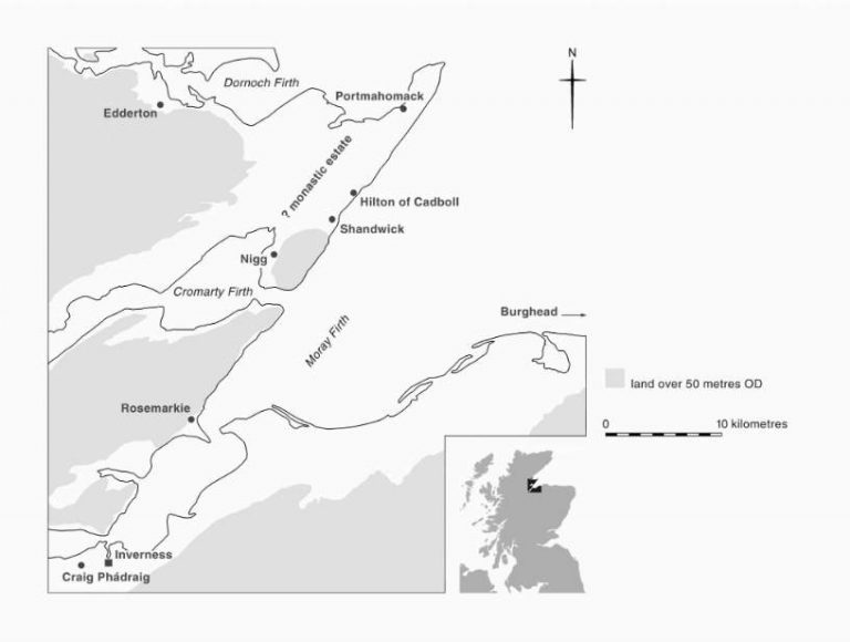 5. The location of Nigg on the Tarbat peninsula where many other important eighth-century carvings have been found. Copyright Sally Foster, graphic by Christina Unwin.