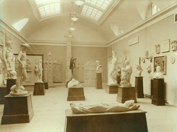 6 Nigg and other plaster casts on display in Dundee's Ward Road following redisplay in 1911. Copyright Libraries, Leisure and Culture Dundee.
