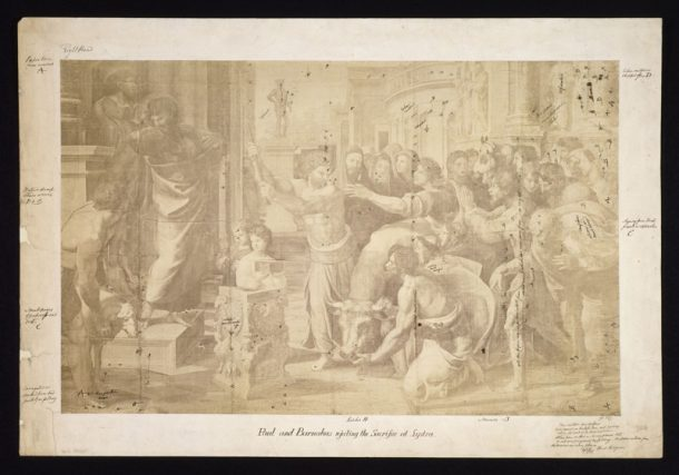 Charles Thurston Thompson photograph of the Raphael Cartoon 'Paul and Barnabus Rejecting the Sacrifice at Systra' annotated by Richard Redgrave