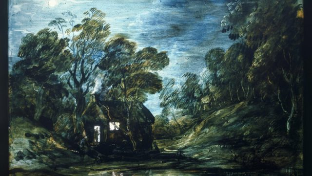 Wooded Moonlight Landscape with Pool and Figure at the Door of a Cottage (P.33-1955) Thomas Gainsborough, 1781-82