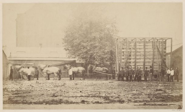 Figure 3. The case and van transporting the Raphael Cartoons from Hampton Court to South Kensington in May 1865 (Museum No. 44413)