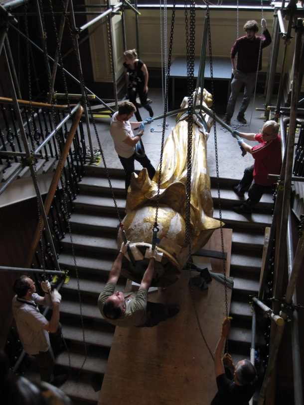 Installation of the angel at the V&A, 2010