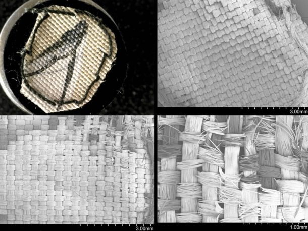 Figure 2. Painted silk; mechanical damage caused by the ultrasonic wand after direct contact without barrier. Top left: Dino-lite image of control sample. Top right: SEM-SE image; control sample at 18x magnification. Bottom left: SEM-SE image; sample 2 (ten second contact, no barrier) 18x magnification Bottom right: SEM-SE image, sample 2 (ten second contact, no barrier) 47x magnification.