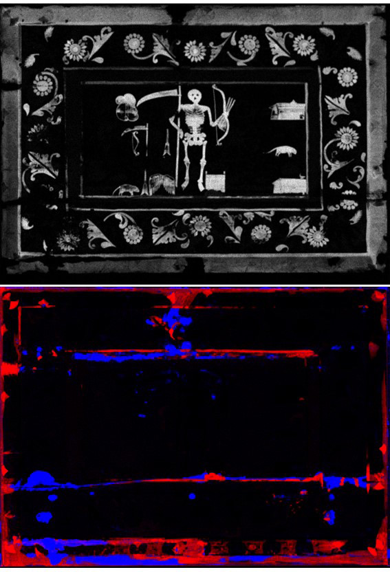 Figure 4. MA-XRF maps of mercury (top, in white), lead and calcium (bottom, red and blue, respectively)