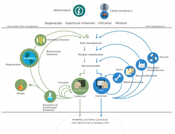 Figure 1: Diagram of the Circular Economy – source: Ellen MacArthur Foundation, SUN, and McKinsey Center for Business and Environment; Drawing from Braungart & McDonough, Cradle to Cradle (C2C).
