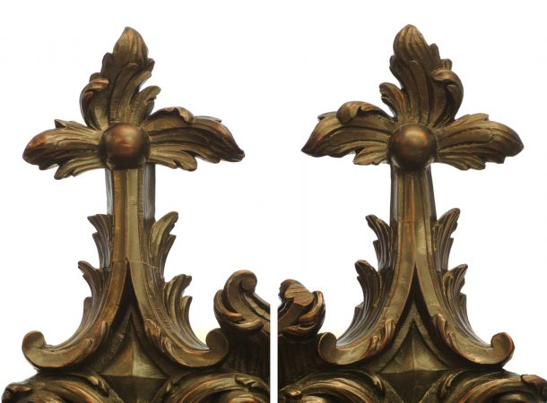 Figure 4. Comparison of finials: original on the left, restoration on the right (Photography by author)