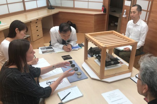 Figure 2. Discussing practical projects (from left to right): Ms. Melchar, Ms. Sasaoka (interpreter), Mr. Omori (TIFO President), Mr. Tomoya Murose, Mr. Kazumi Murose (Photography by Dana Melchar © Victoria and Albert Museum, London)