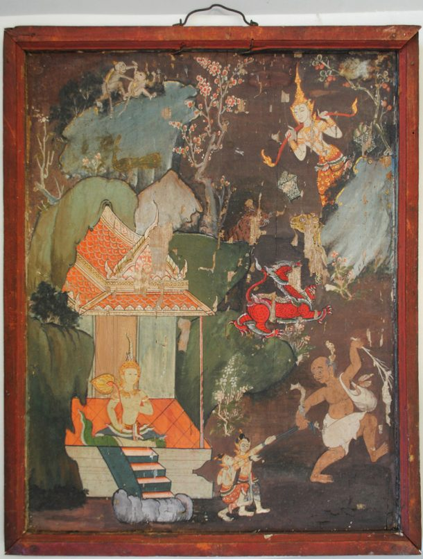 Figure 1. Unknown artist Thai School, Thotsachat painting (Vessantara Jataka) depicting the children given as slaves to the greedy brahmin while their mother is out collecting water, gouache on panel, IS.43-2005, after treatment