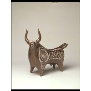 William Newland (1919-98), Figure of a Bull, 1954, earthenware with incised decoration through a brown glaze over a white tin glaze, CIRC.57-1954 © Victoria and Albert Museum, London