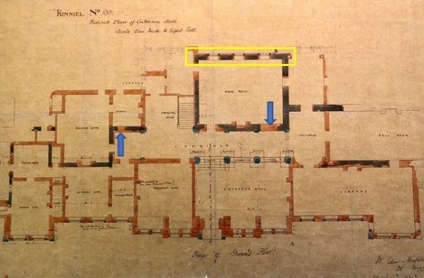 Drawing of the ground floor at Kinmel Hall