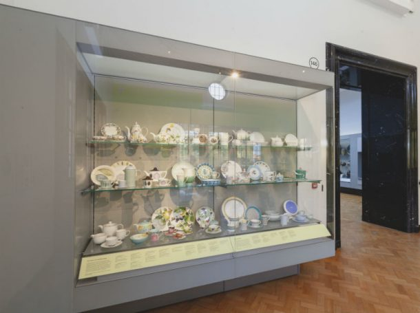 Case of modern pottery and porcelain designs in Portmeirion display G146