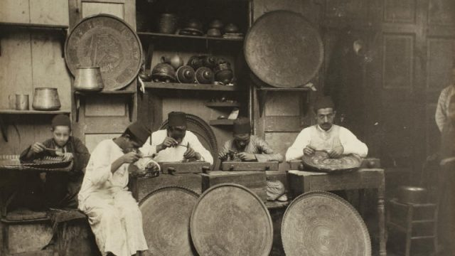 19th century photograph of coppersmiths in Cairo