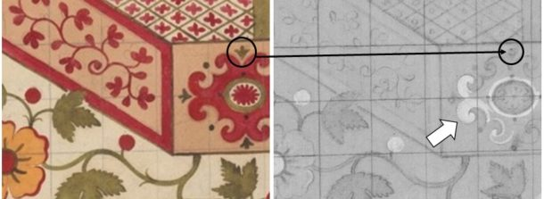 Figure 4: Leman design (left) and one of the corresponding multispectral images (right). The black arrow shows a change of shape of a detail; the white arrow points to a repainted area. Image by Rosarosa Manca © Victoria and Albert Museum.