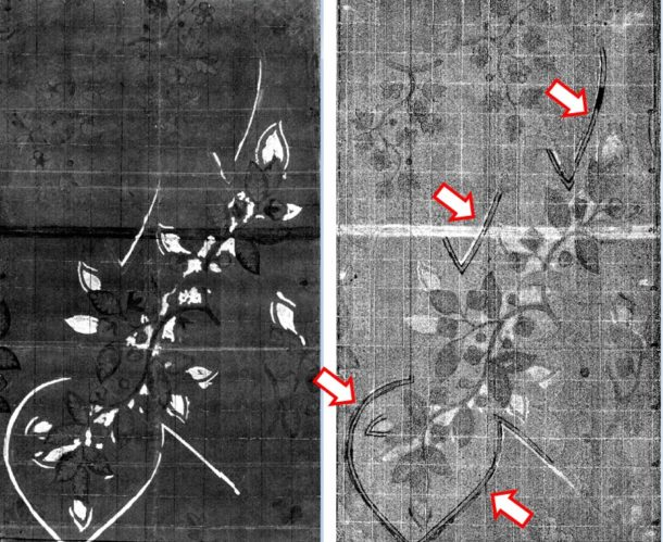 Figure 8: Other hyperspectral images of Leman design 73 emphasizing which areas have been painted with lead white (left) and where a dark ink has been used to outline some of the details (right, marked by red arrows).