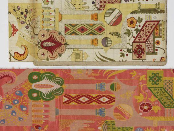 Leman design E.1861:98-1991 (top) and silk T.156-2016 (bottom)