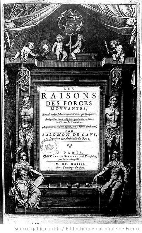 Title page from Les Raisons des forces mouvantes (1615)