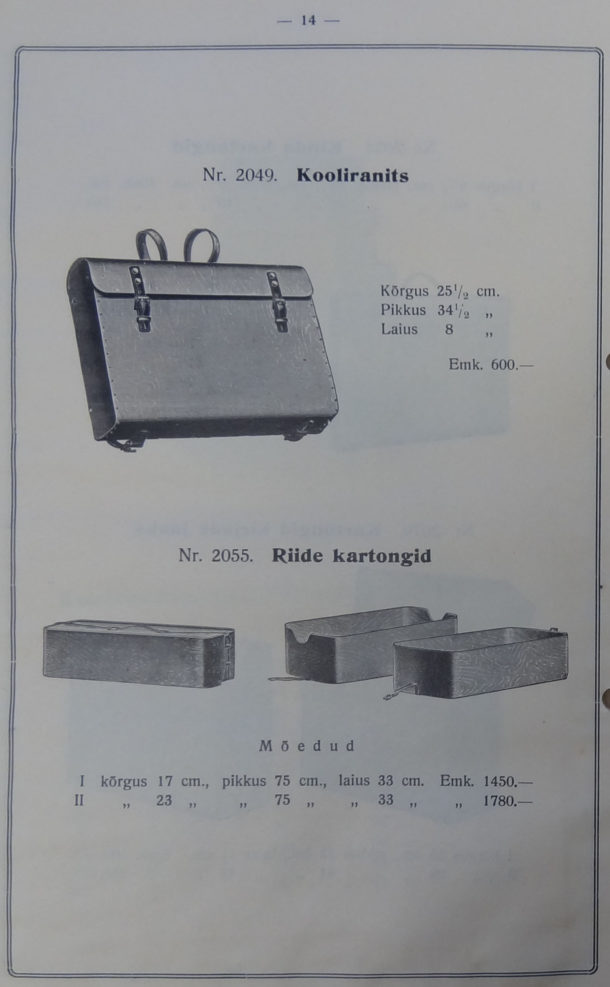 Page from Luterma catalogue showing plywood school satchel.