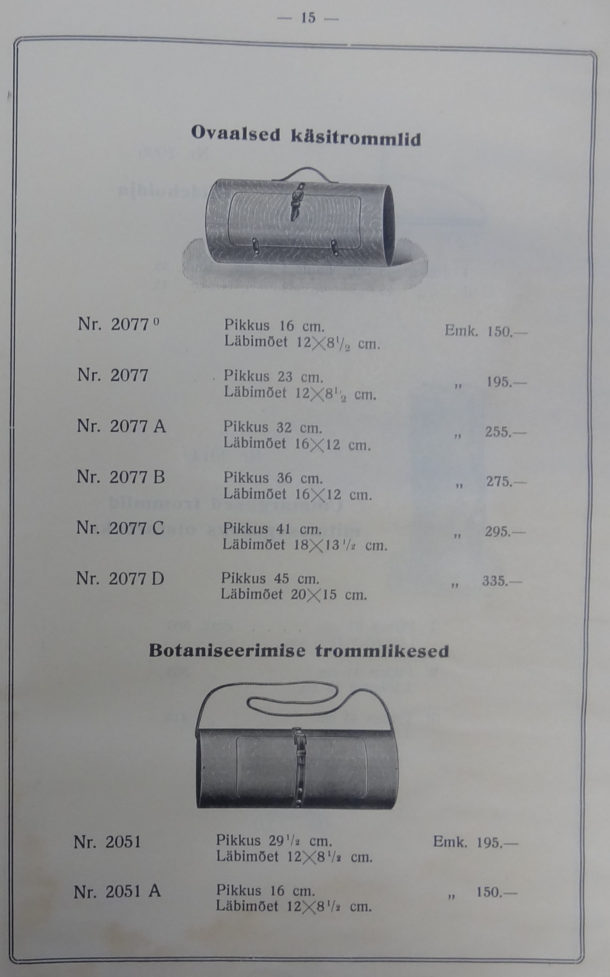 Page from Luterma catalogue showing plywood handbags and bags for collecting botanical samples.