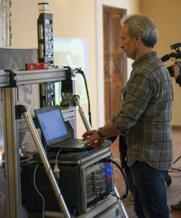 Figure 2: Scientist Marco Barucci at the multispectral imaging equipment