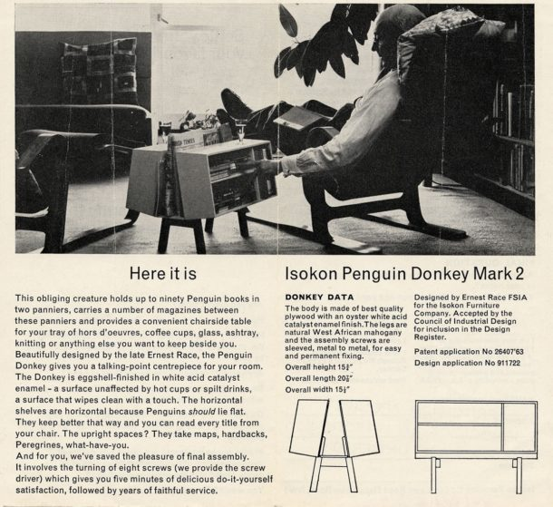 Leaflet advertising the Penguin Donkey Mark 2. Photographic image showing Jack Pritchard sitting in a Long Chair with a Penguin Donkey Mark 2 beside him.