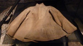 King Gustavus Adolphus' buff coat in which he was killed by a direct sword blow to the chest, 1632. Livrustkammaren, Stockholm. Author's photo, 2014.
