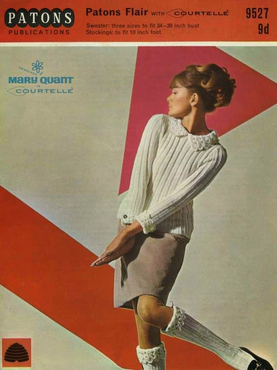 Paper pattern for Mary Quant design jumper, with crochet collar and sock tops, 1966