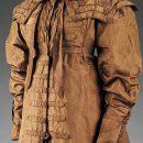 Pelisse coat and cape collar of brown silk taffeta