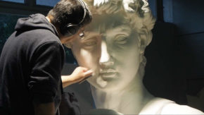 Lead sculptor smoothing finish surface coat of plaster. Image courtesy of the 20th Century Fox