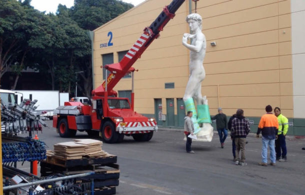 Moving David from construction workshop to the stage. Image courtesy of the 20th Century Fox