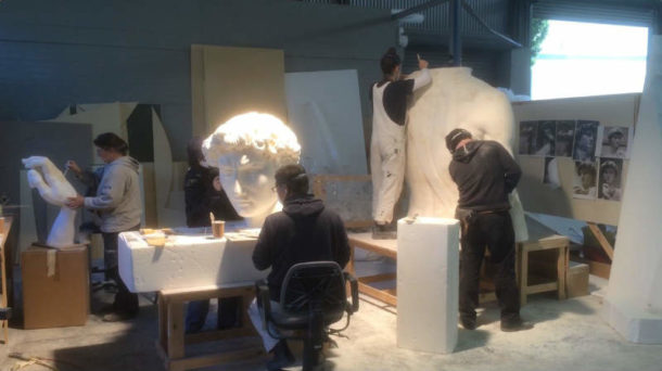 All the sculptors working on the body pieces. Image courtesy of the 20th Century Fox