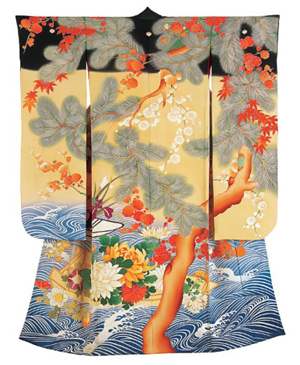 Decorated kimono with landscape and waves